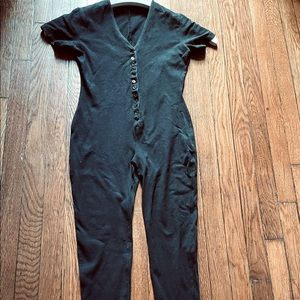 DKNY vintage jump suit button down, stretch knit